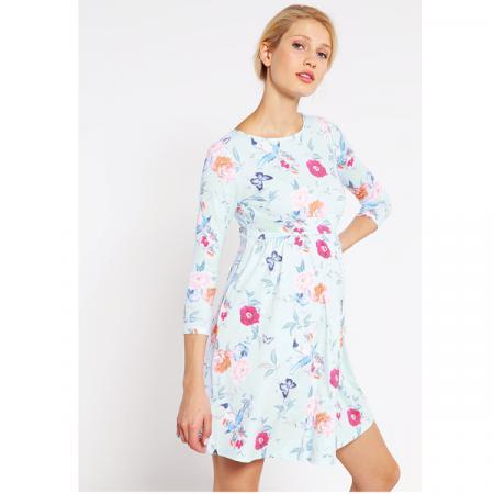 Lichtblauwe jurk met bloemenprint