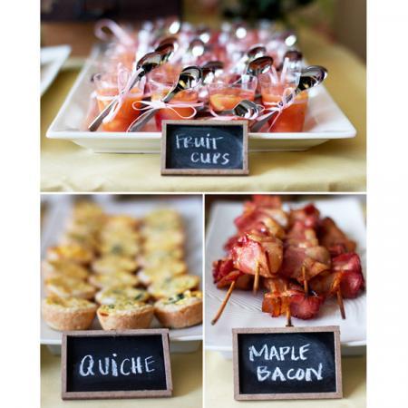 Miniquiches, fruitsla en bacon