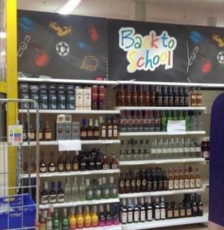 Beter nog wat alcohol inslaan voor school weer begint…