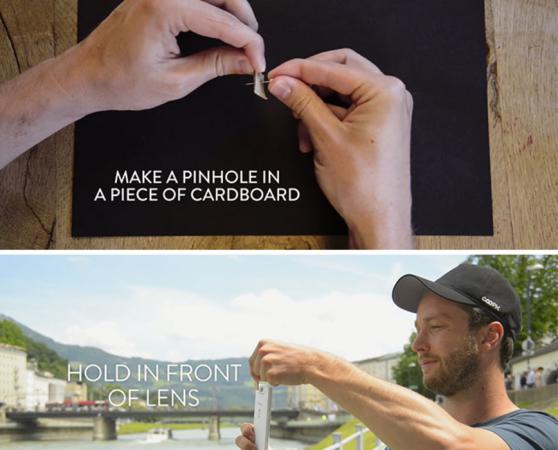 Dankzij een piepklein gaatje in een stukje papier voor je lens lijkt het alsof je een foto door een sleutelgat maakt.