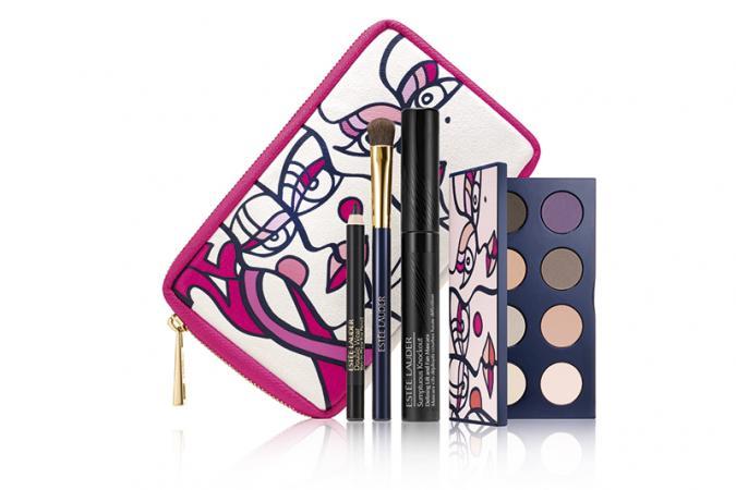 Pink Ribbon Knockout Eyes Collection van Estée Lauder (oogschaduwpalet, mascara, oogschaduwborstel en oogpotlood)