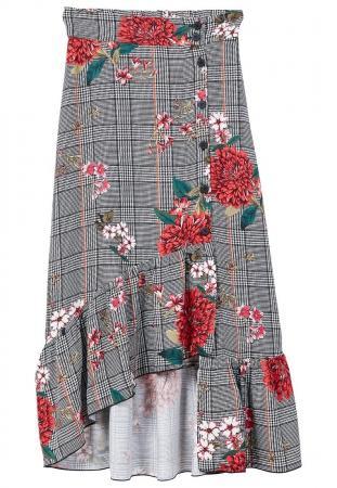 La jupe à carreaux (ici midi, boutonnée ET asymétrique!)