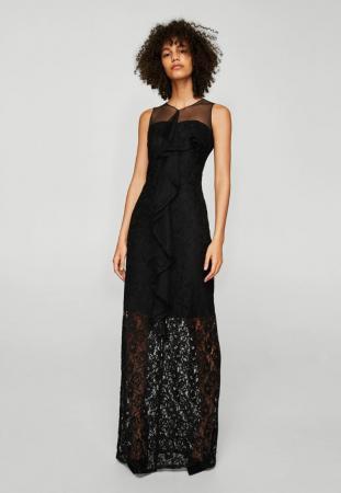 Longue robe noire avec dentelle