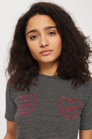 Gestreept T-shirt met opschrift 'oui' en 'non'