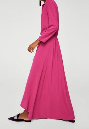Longue robe chemise fuchsia