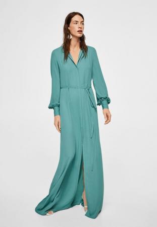 Longue robe chemise vert d'eau