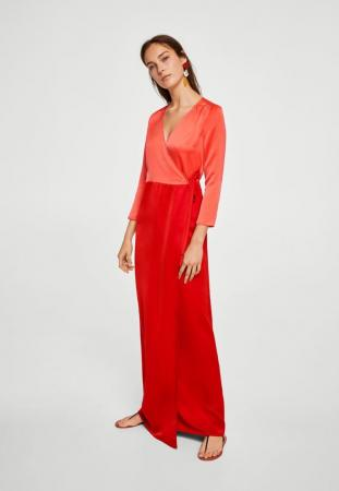 Robe portefeuille orange et rouge