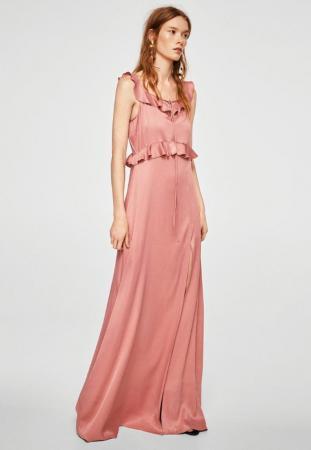 Longue robe vieux rose satinée et volantée