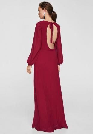 Longue robe dos nu couleur cerise