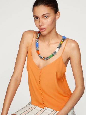 Caraco boutonné orange