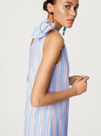Robe one shoulder courte à rayures
