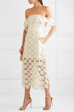 Off-shouldermidi-jurk met kant