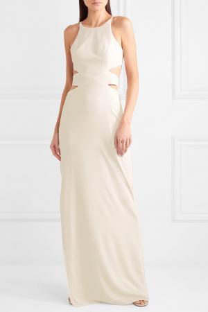 Minimalistische maxi-jurk uit crêpe met cut-outs