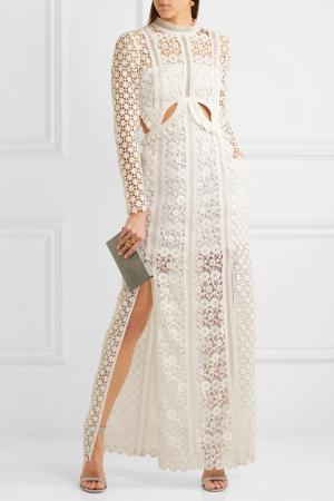 Crèmekleurige maxi-jurk uit kant met cut-outs