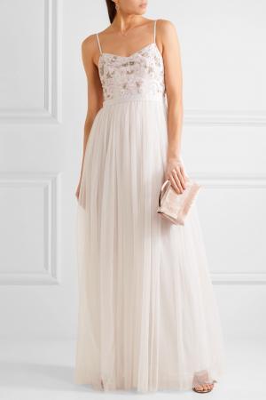 Tulen jurk met geborduurde body