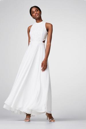 Maxi-jurk met kanten top en cut-outs