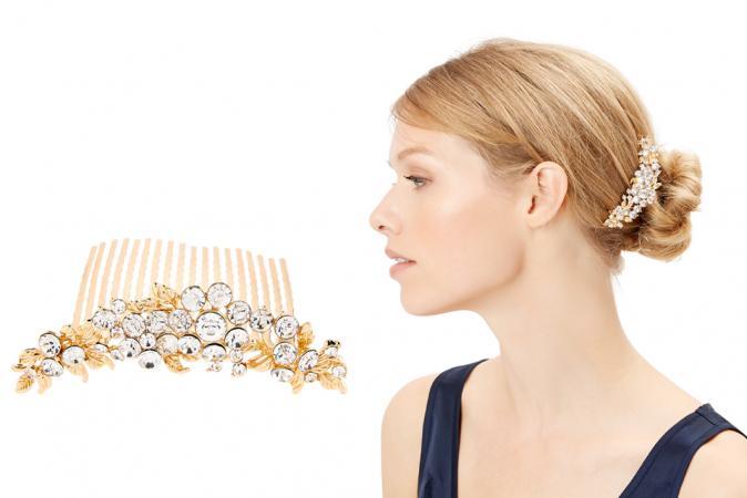 Goudkleurige haarkam met kristallen