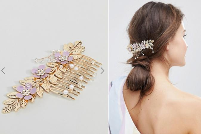 Goudkleurige haarkam met lila bloemen en parels