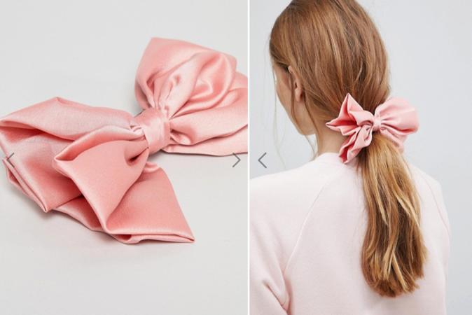 Zilverkleurige haarspeld met roze strik