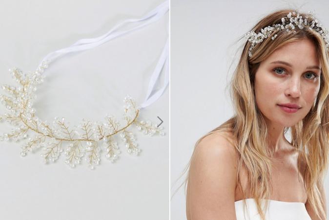 Goudkleurig haarlint met kristallen juwelen