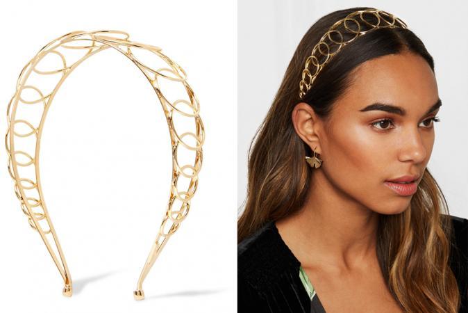 Vergulde haarband met ringenpatroon