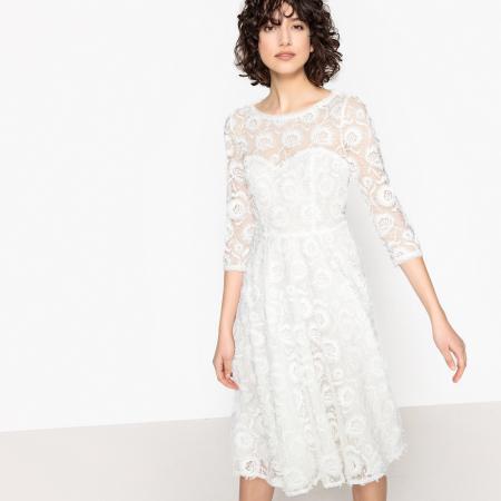 Midi-jurk met geborduurde kant en driekwartsmouwen