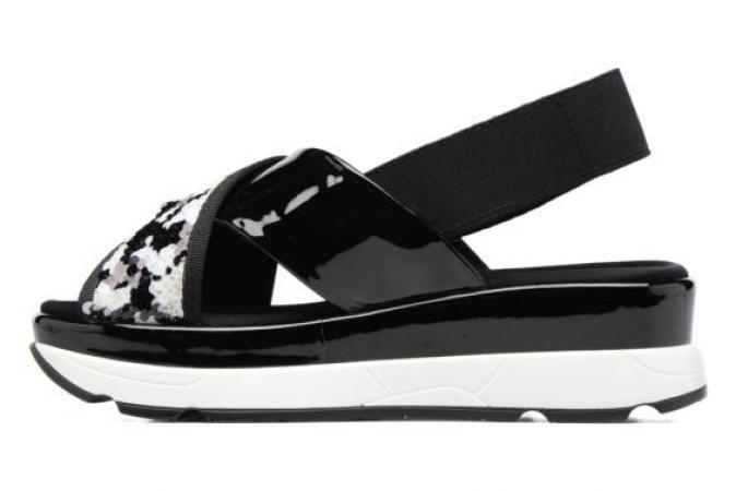 Sandales noires et blanches à plateforme Sixty Seven