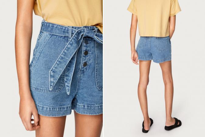 Jeansshortje met high waist en strik
