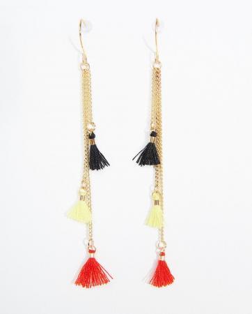 Boucles d'oreilles à pompons tricolores