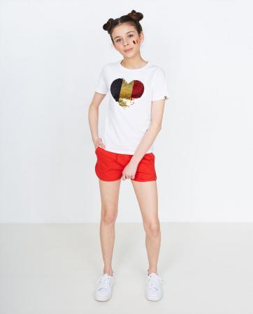 T-shirt fille avec cœur en sequins noir/jaune/rouge