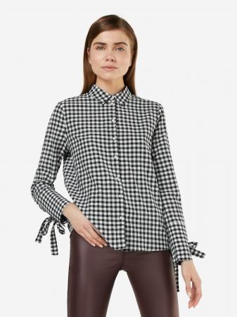 Zwart hemd met strikjes aan de mouwen