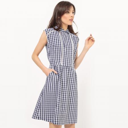 Marineblauwe jurk met kraagje