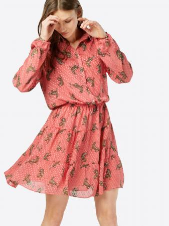 Koraalroze mini-jurk met pantermotief