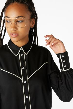 Zwart westernhemd met witte details