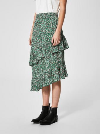 Smaragdgroene rok met bloemenprint