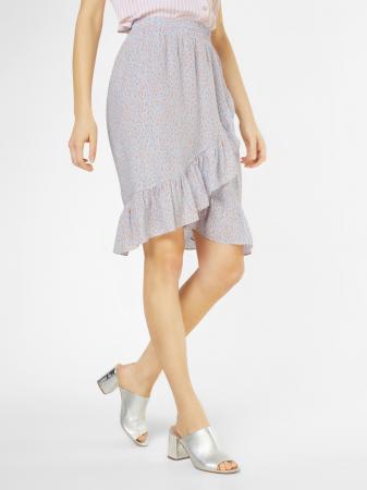 Babyblauwe rok met zalmroze panterprint