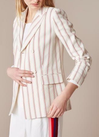 Witte blazer met rood streepje