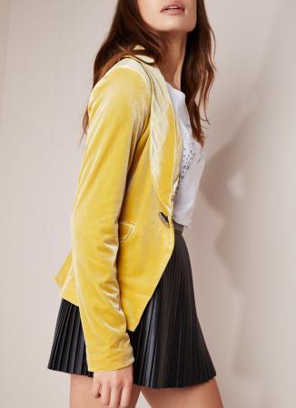 Gele blazer in velours