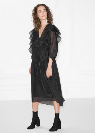 Zwarte transparante jurk
