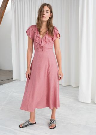 Roze midi-jurk