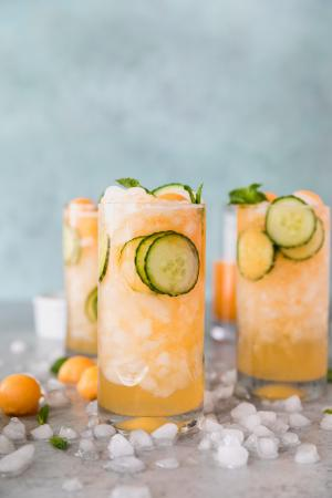 Gincocktail met komkommer, meloen en munt