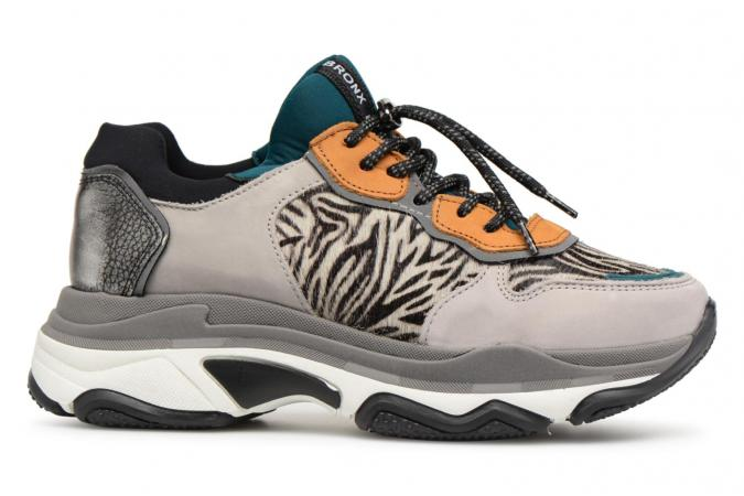 Zilvergrijze sneakers met zebramotief