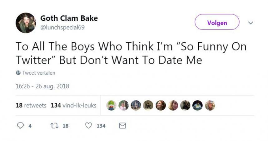 Aan alle jongens die mij 'zo grappig' vinden op Twitter, maar mij niet willen daten