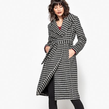 Zwart-witte mantel met riem