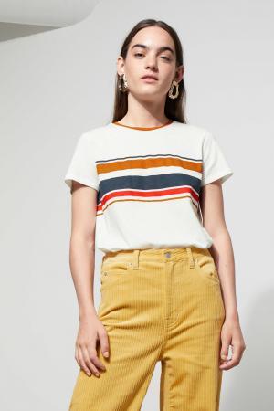Wit T-shirt met horizontale strepen