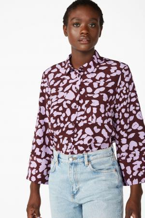 Bordeaux hemd met lila luipaardprint