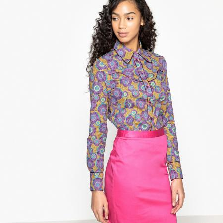 Okerkleurig hemd met paars bloemenmotief