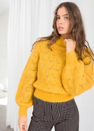 Mosterdgele trui uit wol en mohair