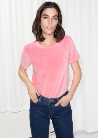 Roze T-shirt in fluweel