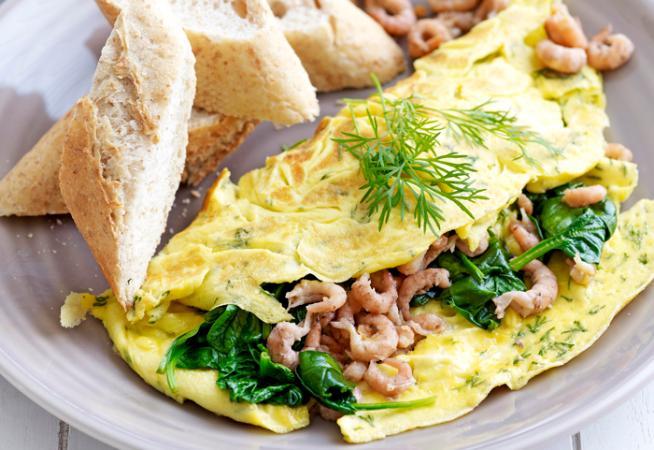 Omelet garnaal met spinazie